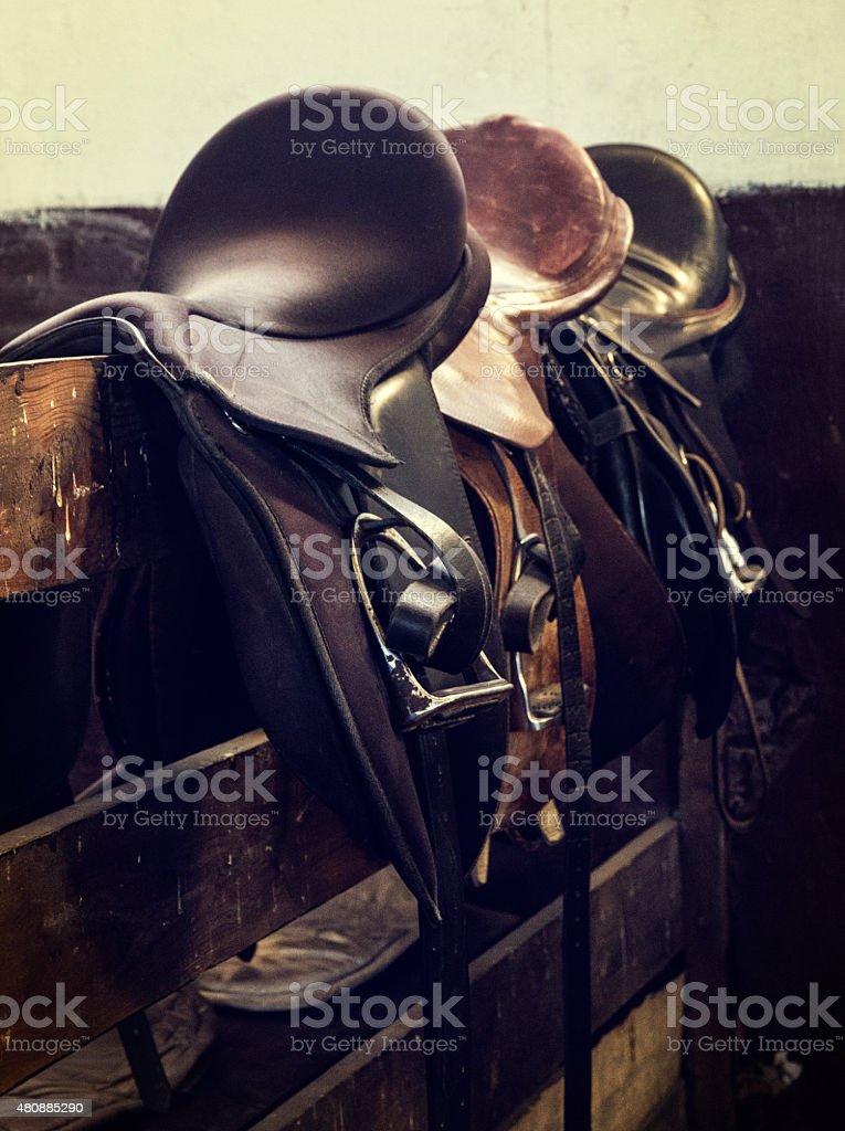 vintage leather saddle horse stock photo