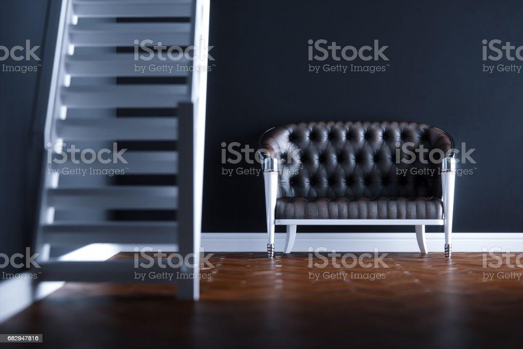 Vintage leather sofa in new black interior on wooden parquet floor 3D render version 2 foto de stock libre de derechos