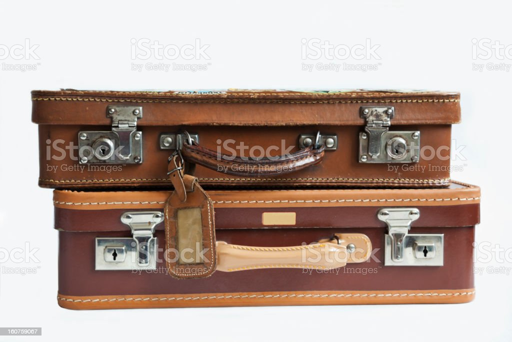Malas de couro Vintage deitado no chão. - foto de acervo