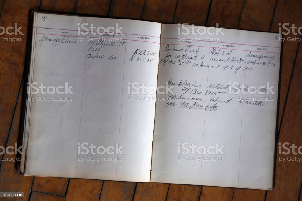 Vintage ledger pages stock photo