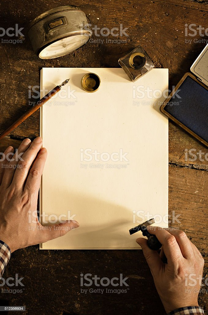 Vintage letter and communication concept. stock photo