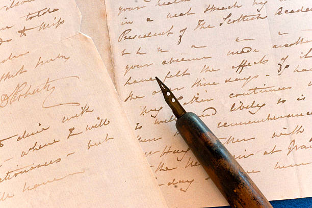 Vintage Letter with Fountain Pen stock photo