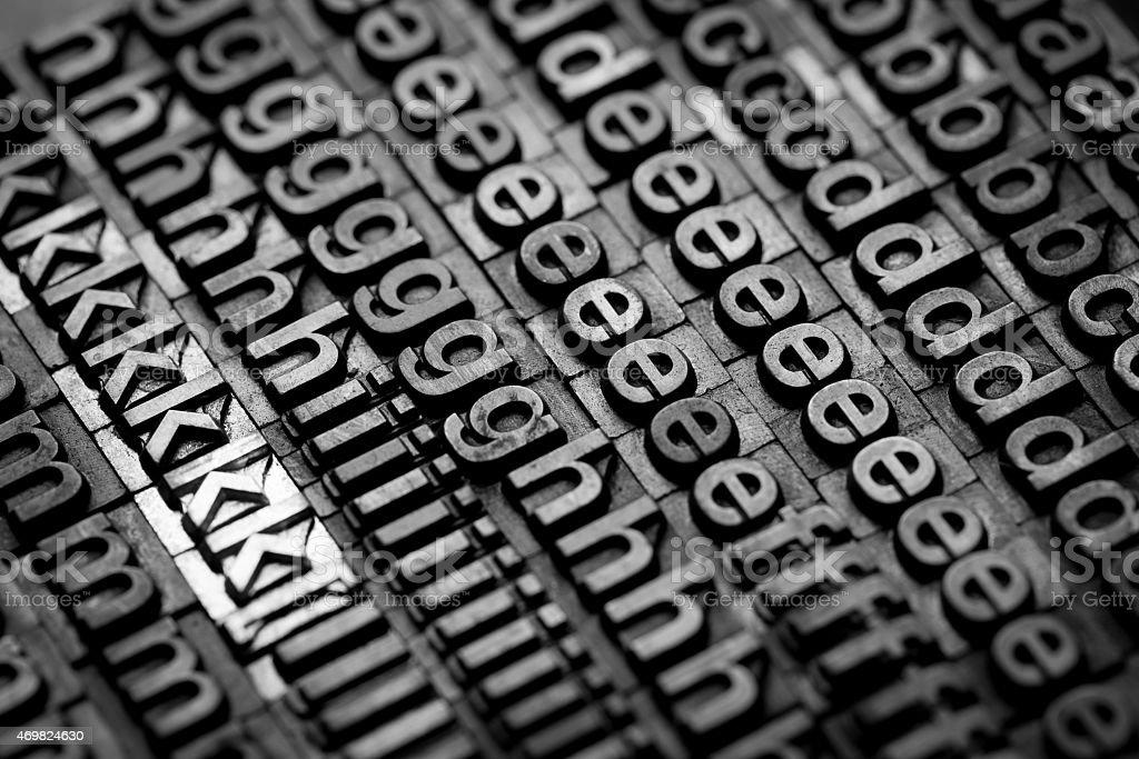 vintage letterpress alphabet and number background stock photo