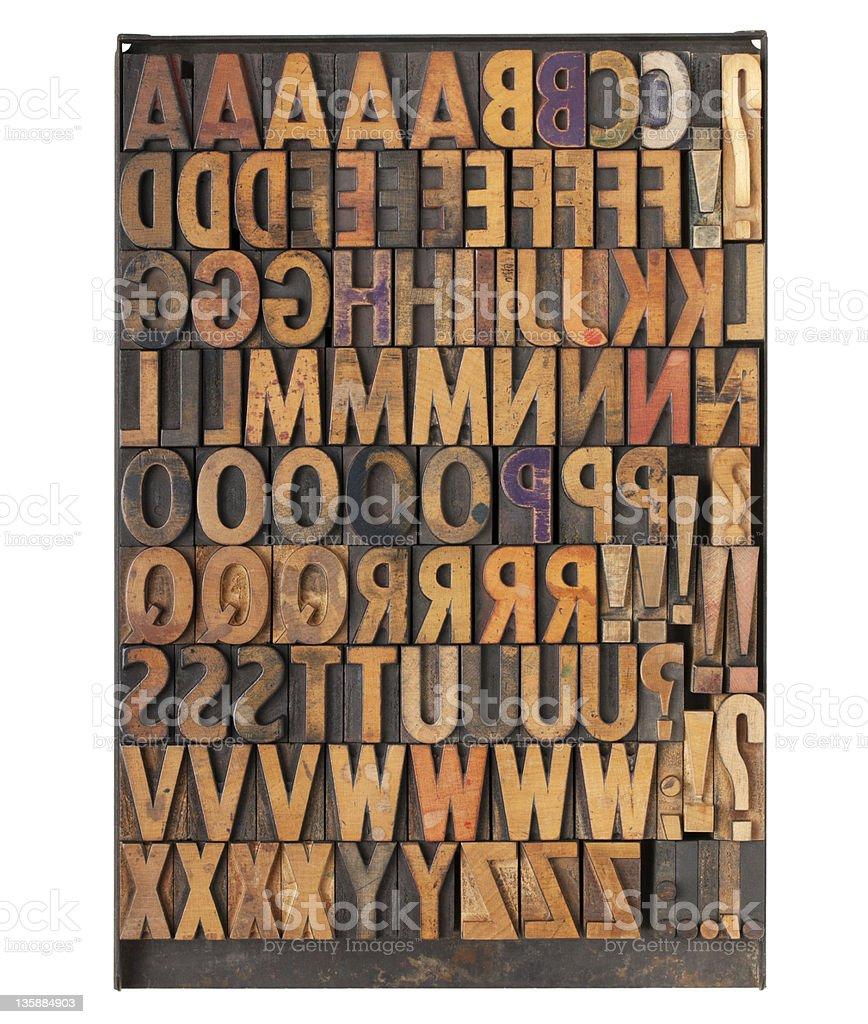 vintage letterpress printing blocks stock photo