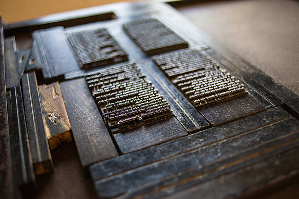 vintage letterpress setup - letterpress stock photos and pictures
