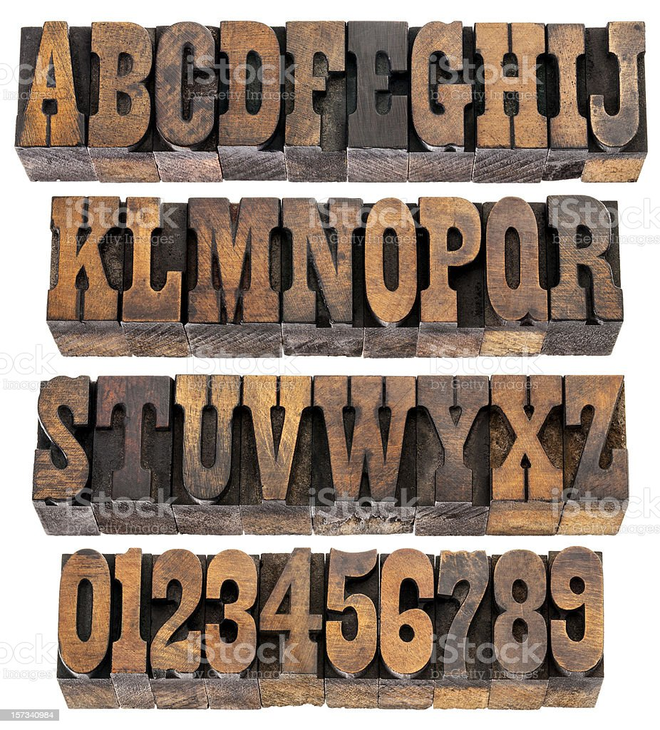 vintage letters and numbers stock photo