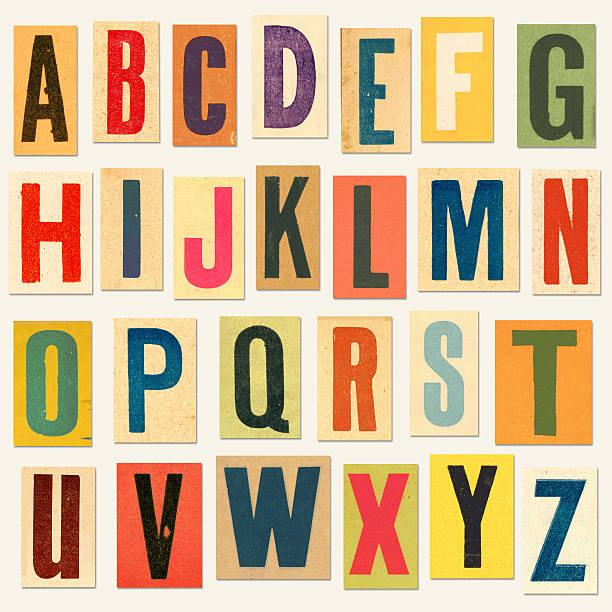vintage lettere (con tracciato di ritaglio) - alfabeto foto e immagini stock