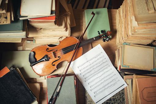 Vintage library still life with violin