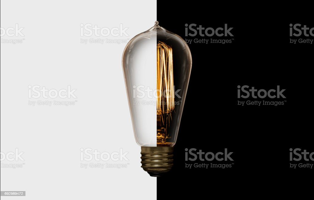 Vintage Light Bulb  Black White stock photo