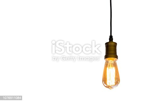 Vintage light bulb hanging isolated white background, Idea concept.with clipping path
