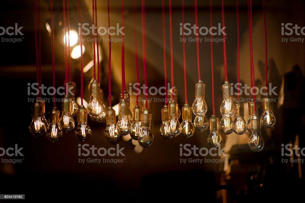 Vintage light bulbs in a row. stock photo