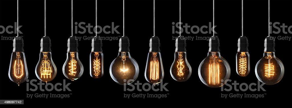 vintage light bulbs stock photo