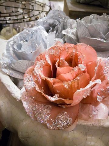 Christbaumkugeln Rose.Vintage Hell Rosa Handgemachte Kunst Christbaumkugeln Rose