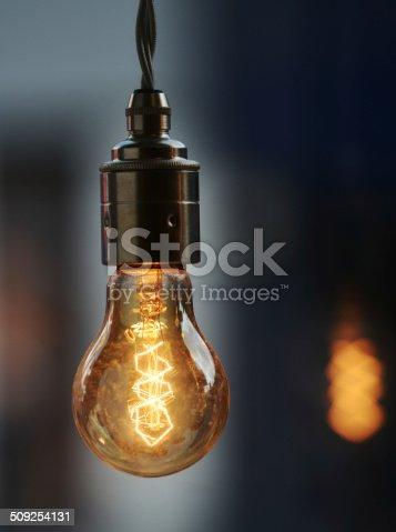 A vintage style Edison filament light bulb