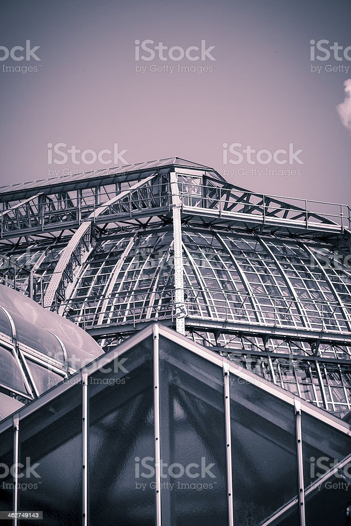 vintage like photo, roof of a big greenhouse royalty-free stock photo
