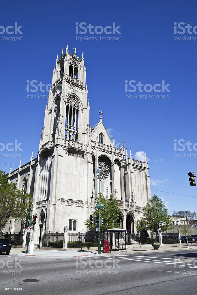 Vintage Limestone Church in Edgewater, Chicago royalty-free stock photo