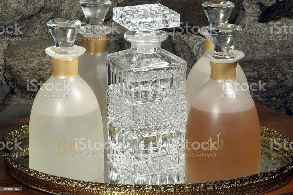 Vintage Liquor Decanters royalty-free stock photo
