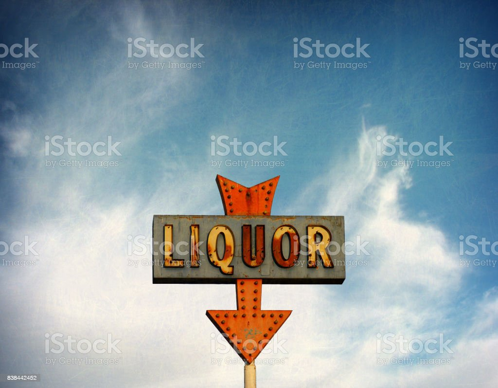 vintage liquor sign stock photo
