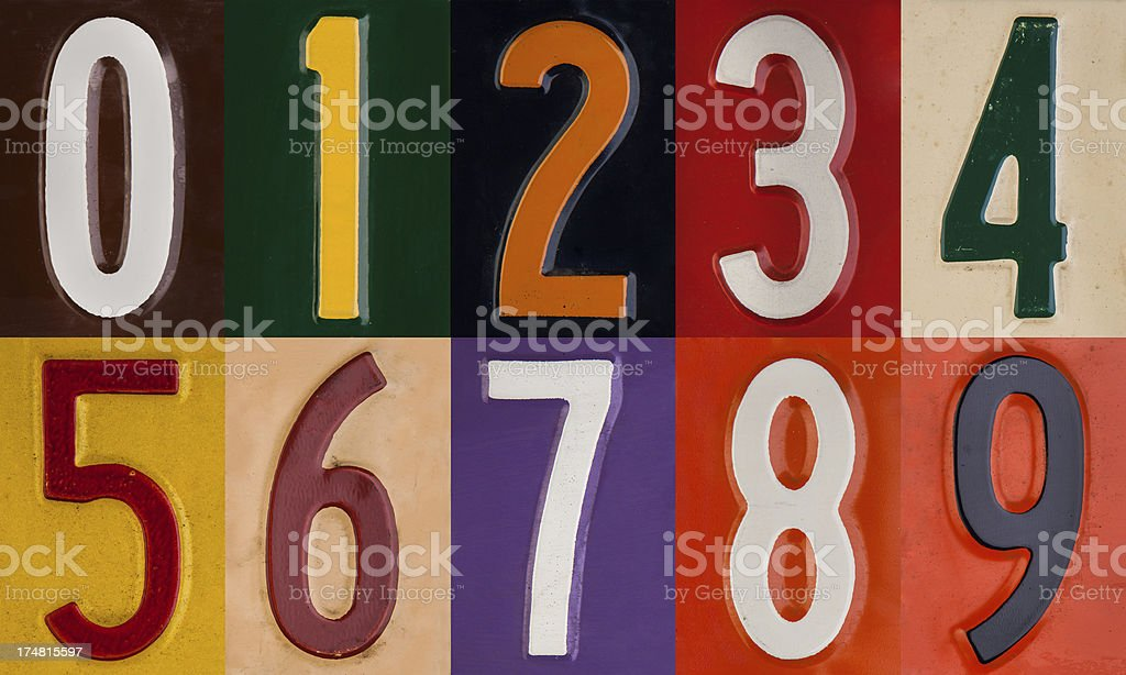Vintage Liscense Plate Numeral set royalty-free stock photo