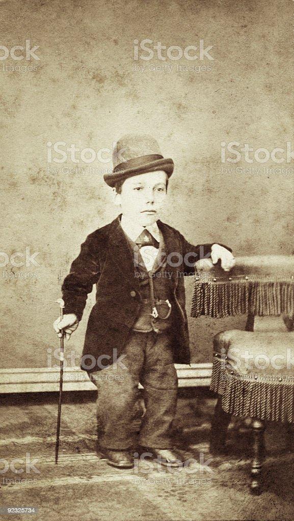 vintage little person portrait stock photo