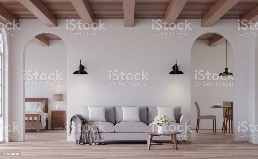 Vintage living 3d rendering image stock photo