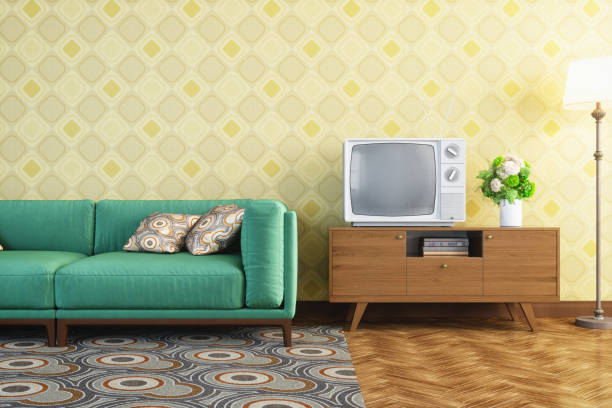 vintage living room interior - retro decor stock photos and pictures