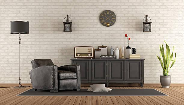 vintage-wohnzimmer - anrichte weiß stock-fotos und bilder