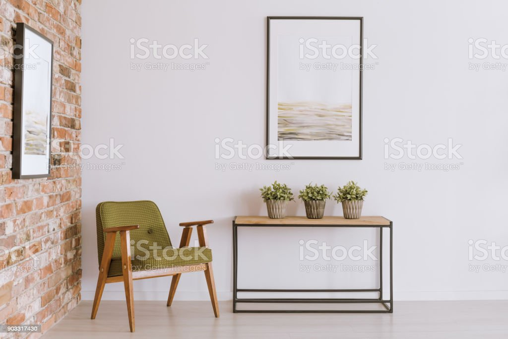 Vintage living room with armchair stock photo