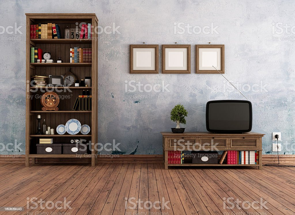 A vintage living room with bookcase stock photo