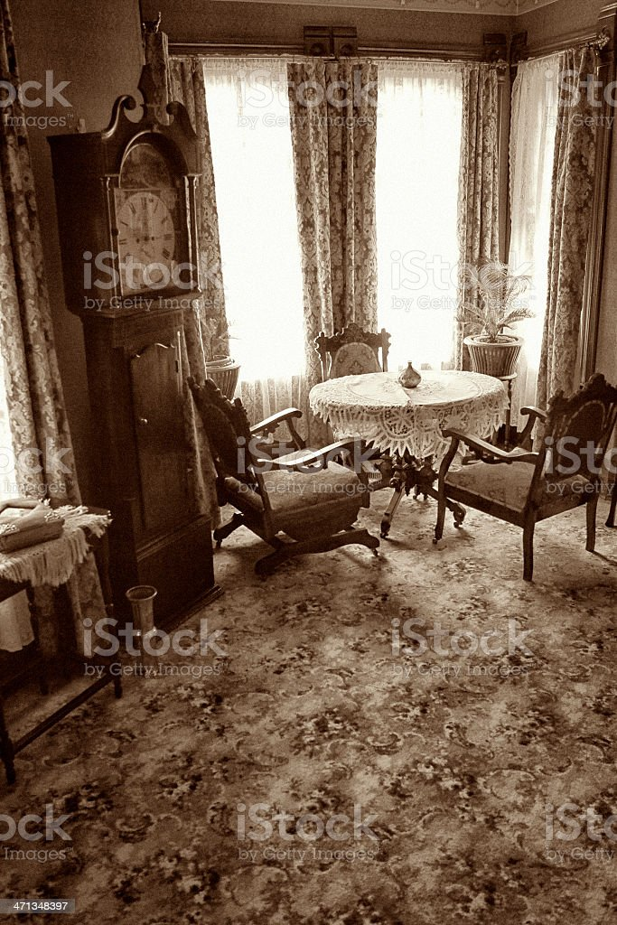 Vintage Living Room with Breakfast Nook stock photo