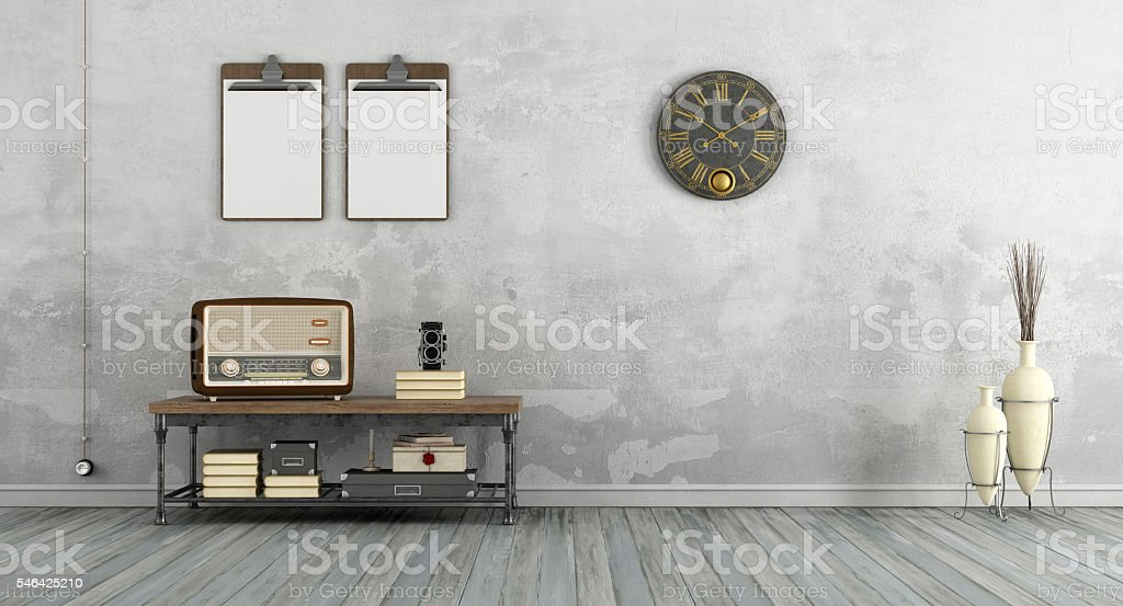 Vintage living room with old radio stock photo
