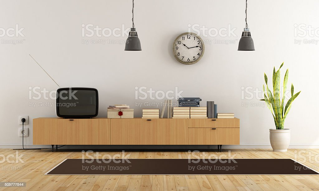 Vintage living room with retro  tv - rendering stock photo