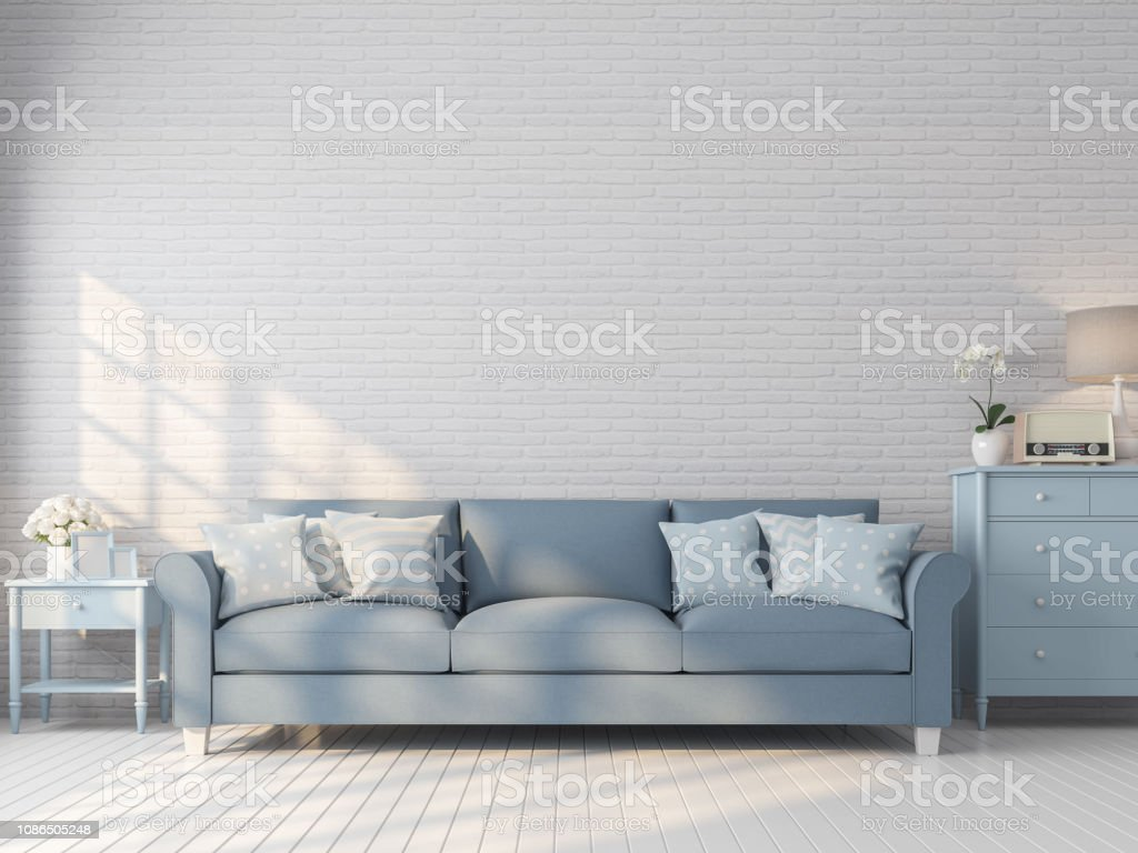 Vintage Living Room With White Brick Wall 3d Render Stock
