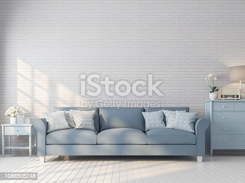 902720222istockphoto Vintage living room with white brick wall 3d render 1086505248
