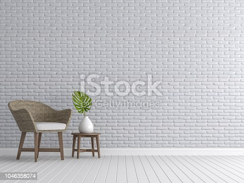 istock Vintage living room with white brick walls 3d render 1046358074
