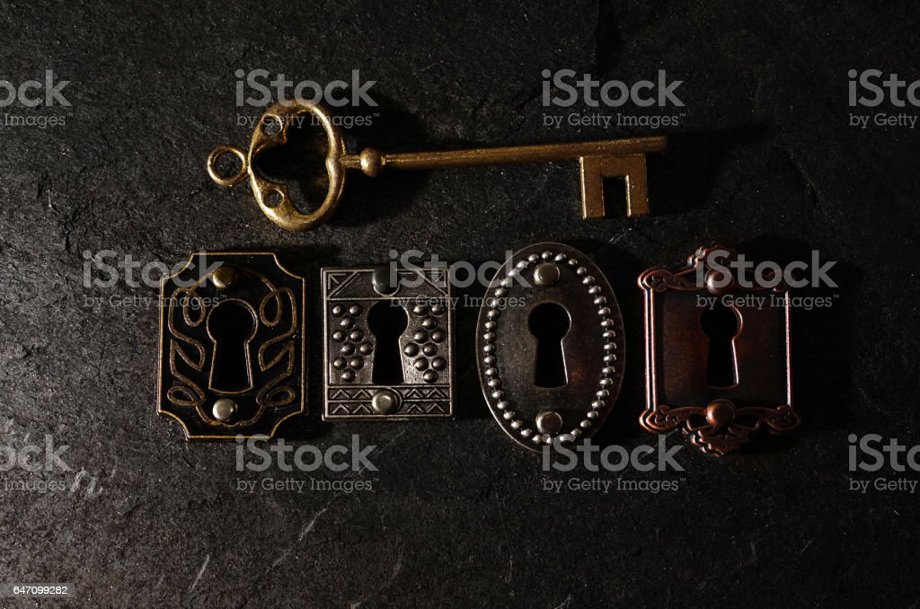 Vintage locks and key stock photo