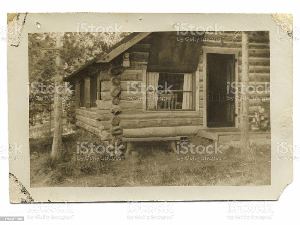 Vintage Log Cabin stock photo