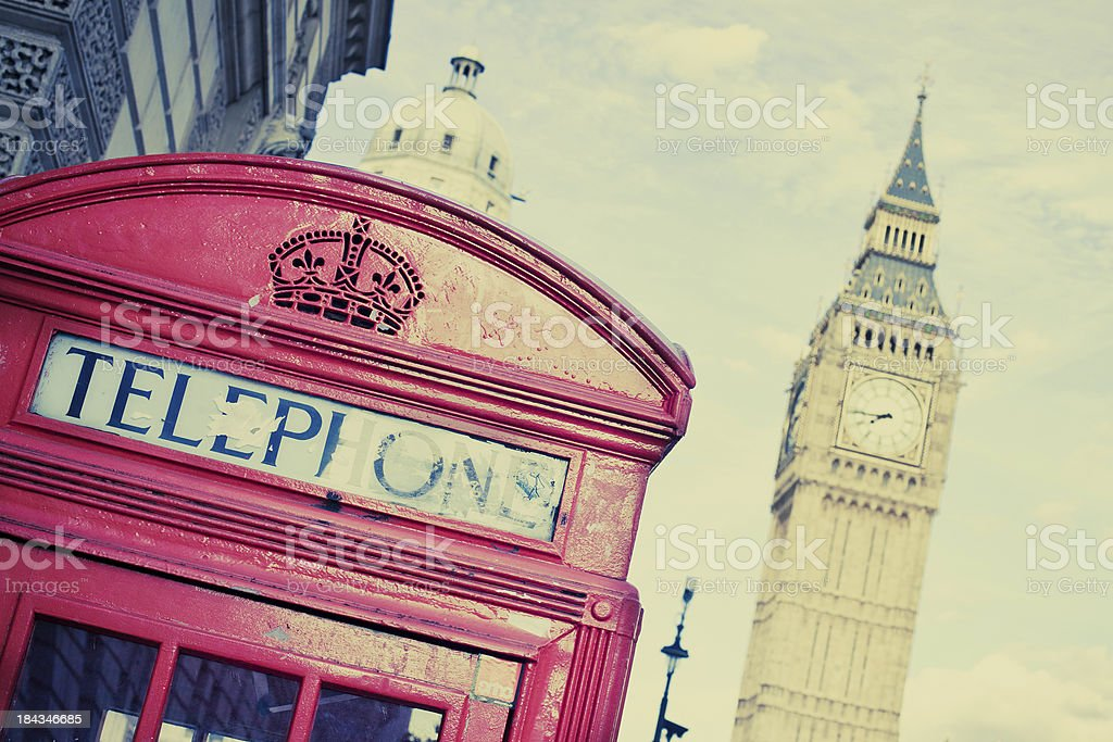 Vintage London, Red Phone Booth and Big Ben royalty-free stock photo