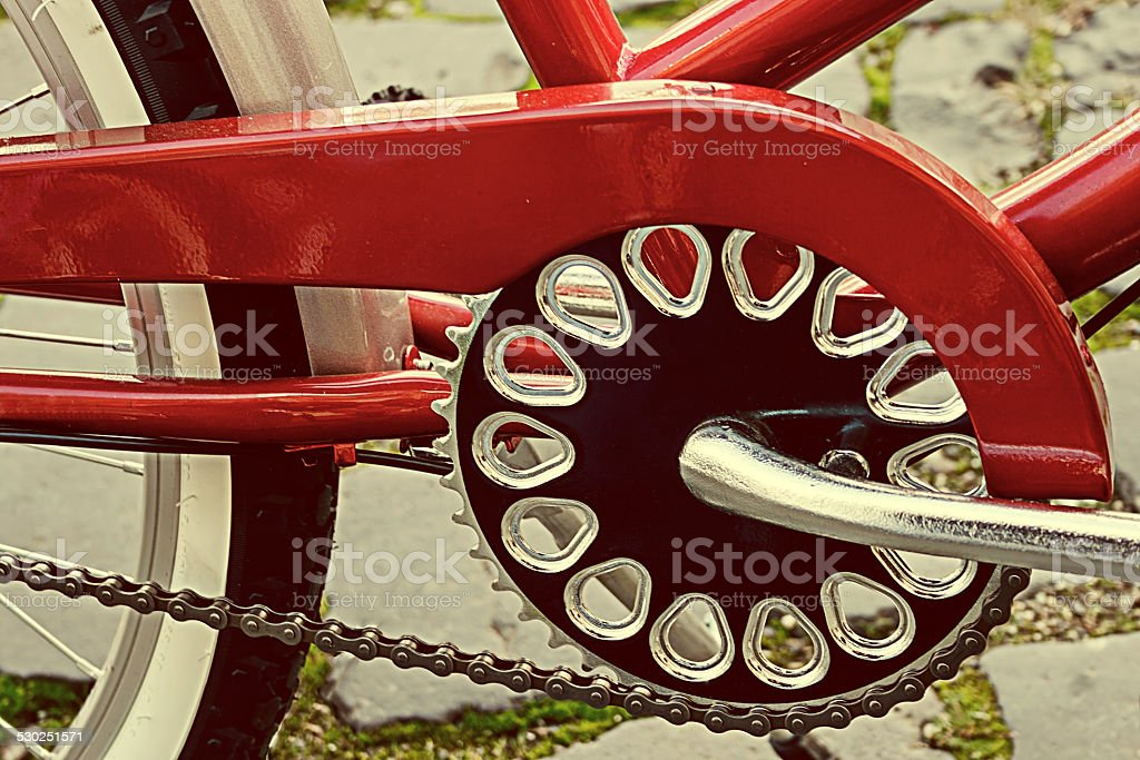 Vintage look at one bicycle detail stock photo