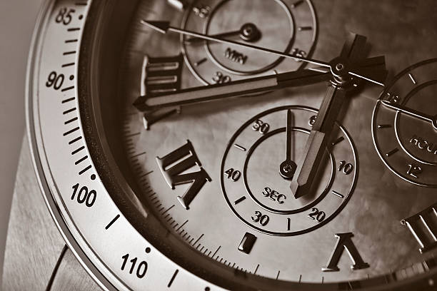 Vintage looking steel chronograph watch stock photo