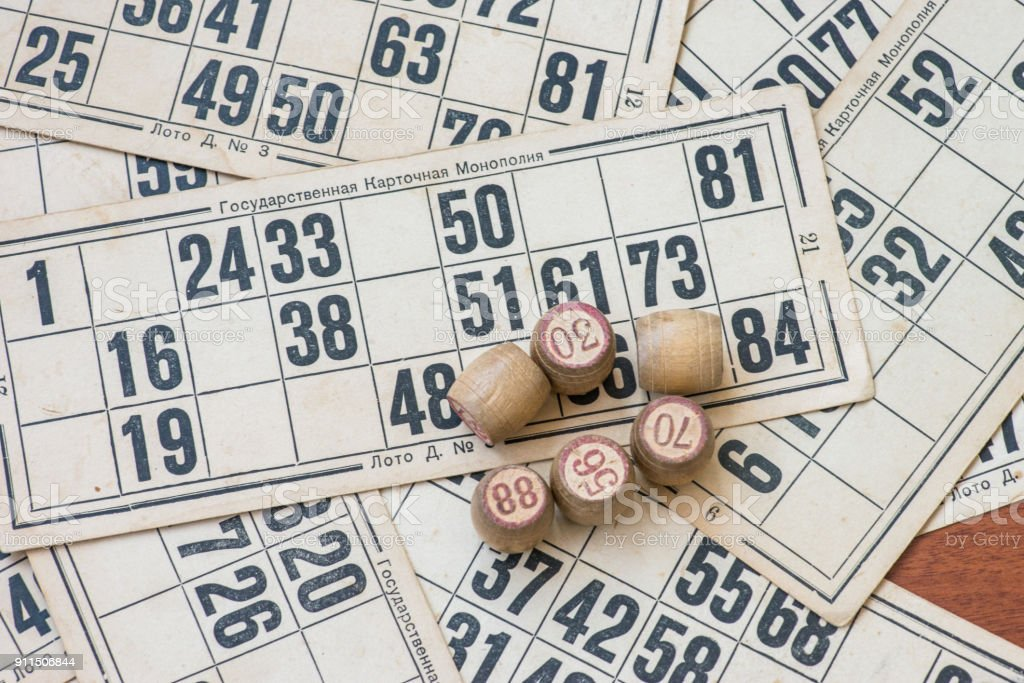 Vintage Lotto Board Game Kegs And Cards Stock Photo - Download Image Now