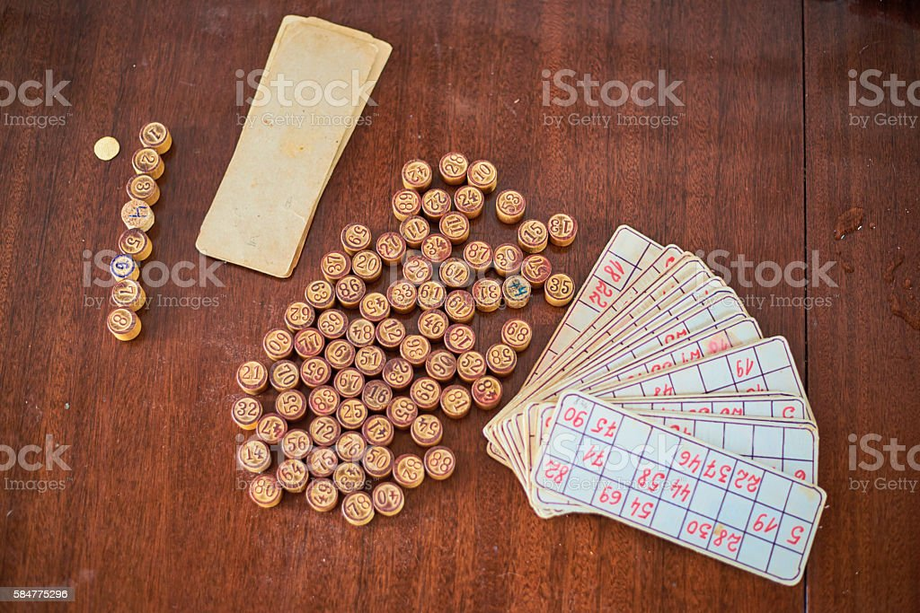 Vintage lotto kegs and cards. stock photo