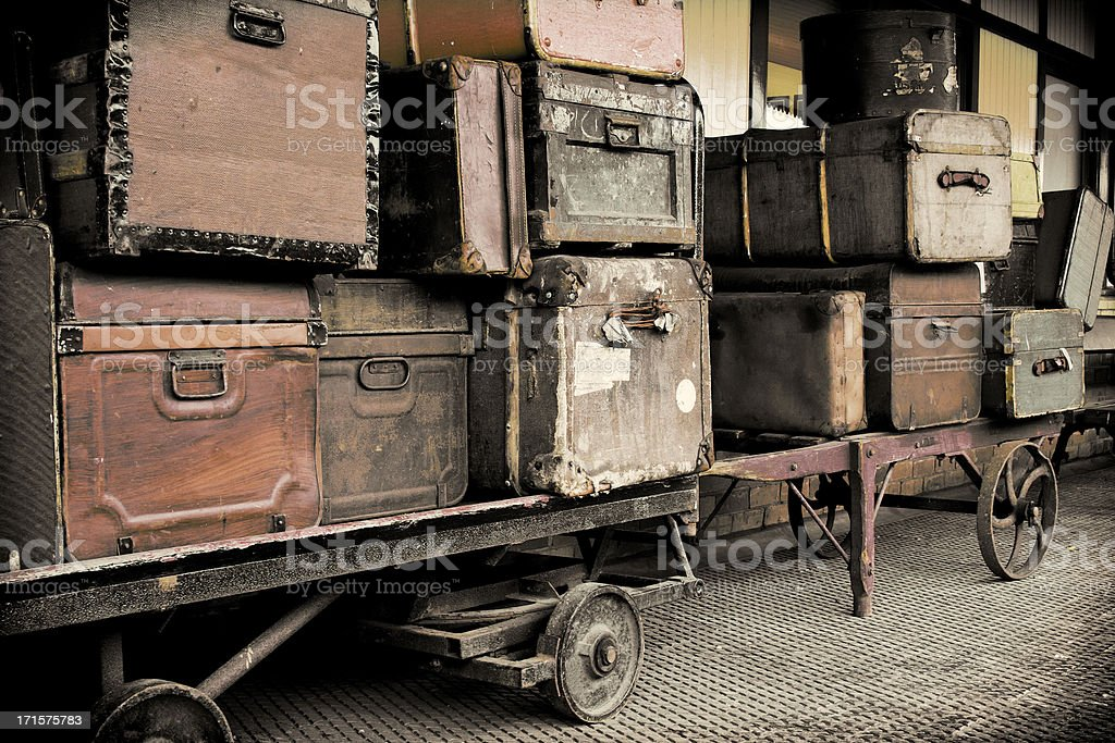 Vintage Luggage on a Railway Platform. royalty-free stock photo