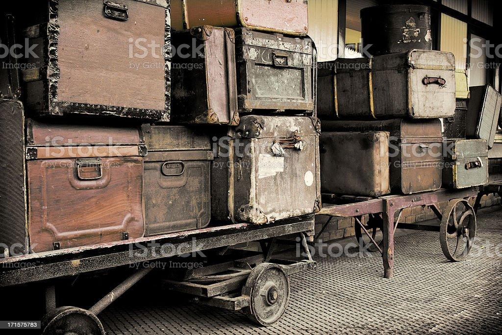 Vintage Luggage on a Railway Platform. stock photo
