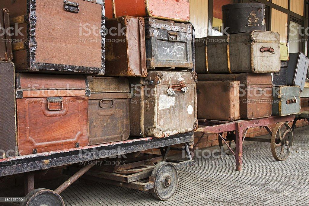 Vintage Luggage on a Railway Platform. royalty-free stock photo