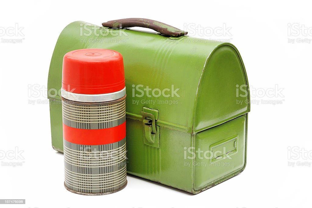 Vintage lunch box and thermos royalty-free stock photo