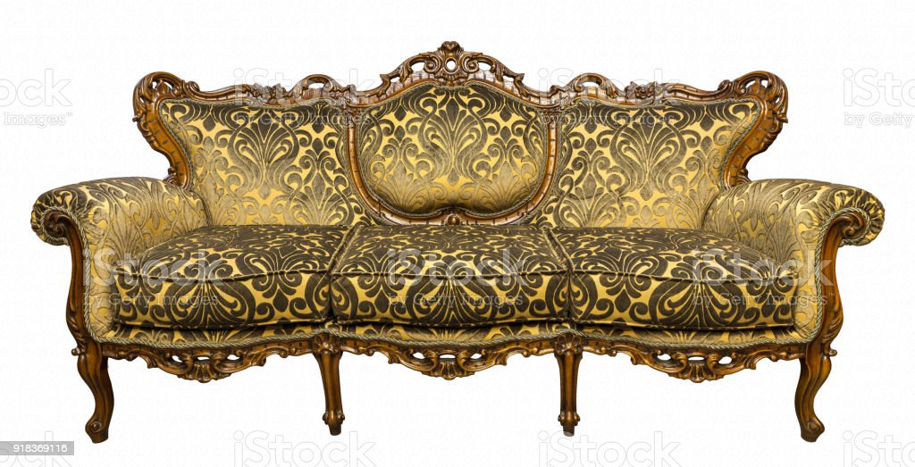 Vintage Luxury Golden Sofa Armchair Isolated On White Royalty Free Stock  Photo
