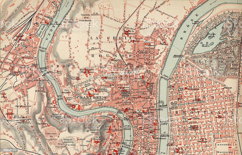 Vintage Lyon Map 1880s, Ephemera. stock photo