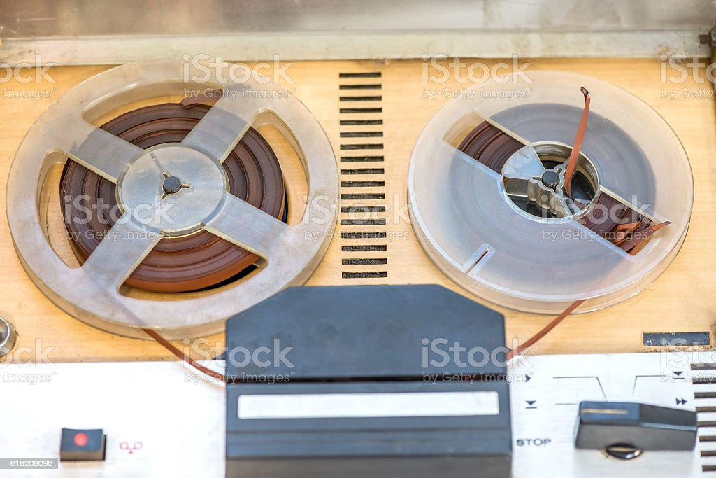 Vintage magnetic reel-to-reel recorder stock photo
