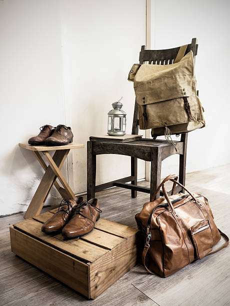 Vintage male accessories.Leather bags and leather shoes stock photo